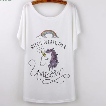Unicorn T Shirt Women's Batwing Sleeve in White with Assorted Graphics