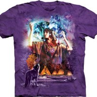 The Mountain Spirit Maiden Native American Wolves Adult Tee T-shirt