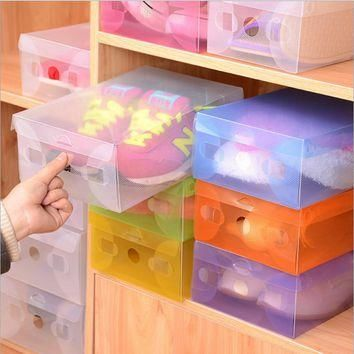 5pcs/lot Multicoloured Opened Rectangle Storage Box Stackable Crystal Clear Plastic Sh