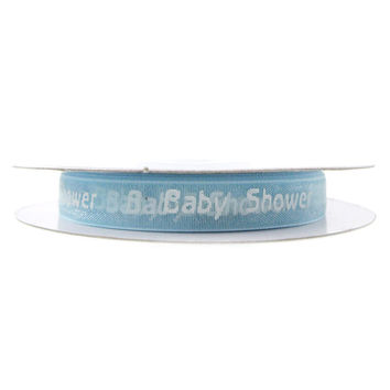 Baby Shower Print Organza Ribbon, 3/8-inch, 25-yard, Light Blue