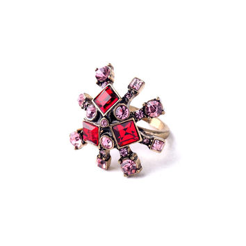 Pink and Red Crystal Ring