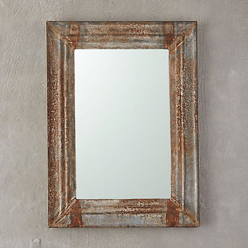 Weathered Iron Rectangle Mirror
