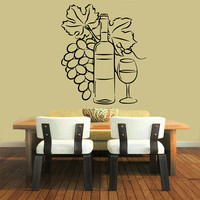 Grapevine Wall Decals Grapes Floral Bottle Glass of Wine Cafe Bar Kitchen Vinyl Decal Sticker Home Decor Art Murals Interior Design KG754