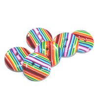 Polymer Clay buttons in stripes rainbow colors, Colorful  buttons,  unique pattern,  set of 6