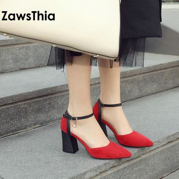 ZawsThia 2018 chaussures femme ankle wrap block high heels pearls ladies summer shoes pumps women sandals sandalias mujer 33-46