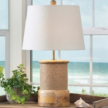 Rope Wrap Wood Lamp with Shade