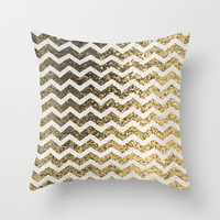 Glitter Sparkly Bling Chevron Pattern (gold) Throw Pillow by The BeezKneez