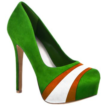 HERSTAR™ Green White Orange Team Color Suede Pumps