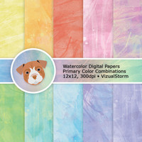 Watercolor Digital Paper Rainbow Colors, Digital Abstract Backgrounds, Colorful Watercolor Patterns, Printable Watercolor Scrapbook Paper