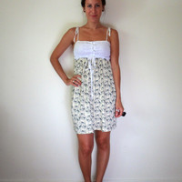 White Eyelet & Dripping Bows Shoulder Tie Summer Dress