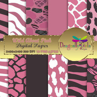 80% OFF Sale WILD About Pink  ,paperpacks, commercial use, digital scrapbook papers, vector graphics, printable, Instant Download