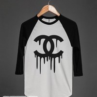 Dripping Chanel-Unisex White/Black T-Shirt