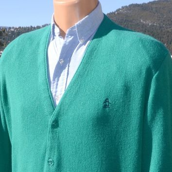 70s vintage cardigan sweater PENGUIN grand slam v-neck teal golf munsingwear 80s Medium Small preppy