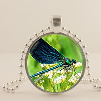 Real photo of Dragonfly,  glass and metal Pendant necklace Jewelry.