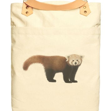 Unisex Young Red Panda Beige Print Canvas Leather Strap Laptop Backpack WAS_34