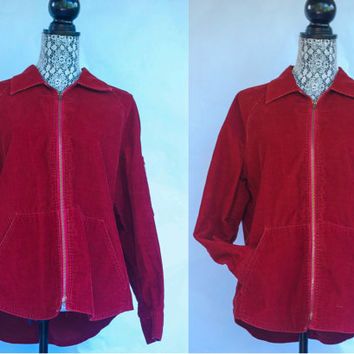 Vintage 1970's Levi's Red Corduroy Jacket Zip Up With The Metal Talon Zipper Style Unisex
