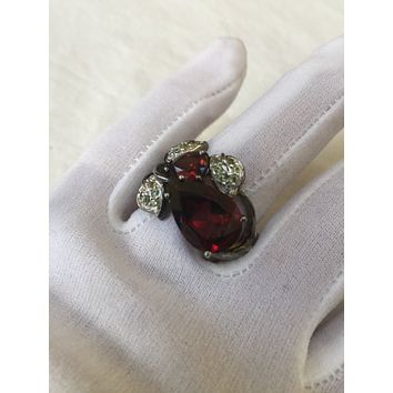 Vintage Bohemian Garnet 925 Sterling Silver Antiqued Golden Rhodium Finish flower Ring