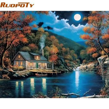 RUOPOTY Frame Fantasy Rural Landscape Diy Painting By Numbers Kits Home Decor Wall Art Drawing Paint By Numbers 40x50cm Artwork