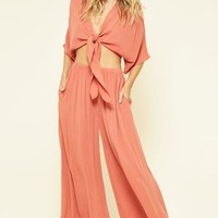 Crinkled Wide Leg Two Piece Pant Set