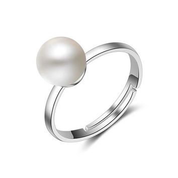 Women's 925 Silver Simple Single Imitation Pearl Inlaid Rings