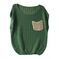 Green Round Neck Hollow Pocket Knitting Cotton Women Batwing Sleeve Free Size Sweater @JYF2070gr