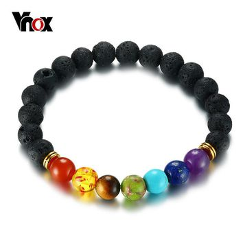 Vnox 7 Chakra Bracelet Men Black Lava Healing Balance Beads Reiki Buddha Prayer Natural Stone Yoga Bracelet for Women Casual