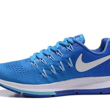 DCCKY4E Nike Air Zoom Pegasus 33 Blue Glow Racer & White Women's Trail Running Shoes
