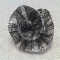 Black and White Plaid Flower Ribbon Hairbow