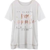 White T-Shirt With Split Side Detail
