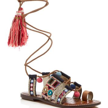 Sam Edelman Gretchen Embellished Lace Up Sandals | Bloomingdales's