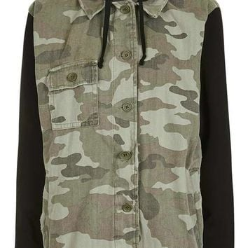 Camo Hooded Shacket