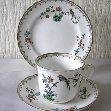 Art Deco Vintage Bone China Art Deco Bird of Paradise Pattern Tuscan Bone China Tea Trio Set  World Wide Shipping
