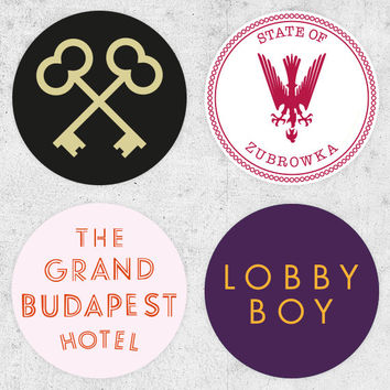 4 The Grand Budapest Hotel Stickers! lobby boy, zubrowka, wes anderson film, ralph fiennes, royal tenenbaums, moonrise kingdom,