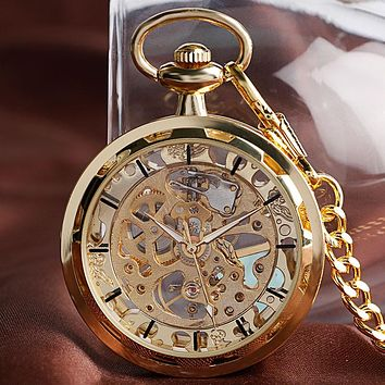 Luxury Golden Mechanical Watch Chain Fashion Skeleton Women's Exquisite Necklace Pendant Men Hand-winding Pocket Watch Open Face