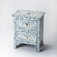 Vivienne Traditional Rectangular Bone Inlay Accent Chest Blue