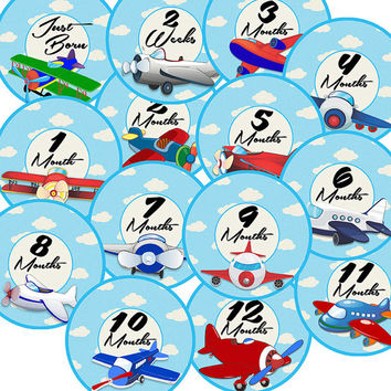 14 Airplane Aviation Transportation Sky Clouds Blue Baby Boy Monthly Milestone Onesuit Stickers Newborn Shower Gift