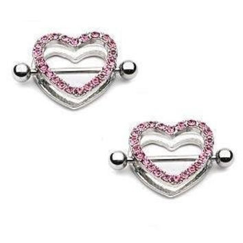 Nipple Ring Bars Rhinestone Heart Circle of Love Body Jewelry HO222
