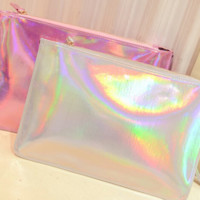 Holographic Pink / White - Wrist Clutch