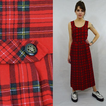 Plaid Dress Soft Grunge Red MED Preppy Hipster Sleeveless Tank Vintage Womens Clothing 90s Dress Pleated Skirt TarTan Black White Yellow