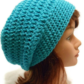 Crochet Oversized Slouch Beanie hat Snood Tam in Aqua Blue Small