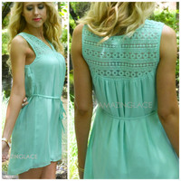 Sweet Peaches Mint Crochet Shift Dress