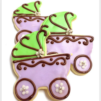 Baby Carriage Sugar Cookies Pram Baby Shower Lavender Carriage Iced Decorated Cookies