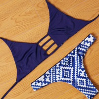Sexy Women Reversible Swimsuit Navy Blue Bikini Set +Free Gift -Random Necklace