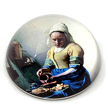 Vermeer Milkmaid Woman Pouring Milk Dutch Golden Age Glass Dome Paperweight 3W