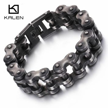 Kalen New Brushed Bike Chain Bracelet 23cm Oxidized Dark Bicycle Chain Men Bracelet Fashion Male 316L Stainless Steel Hand Chain
