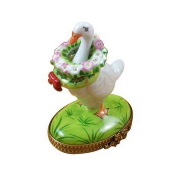 Goose with Christmas Wreath and Baby Limoges Box