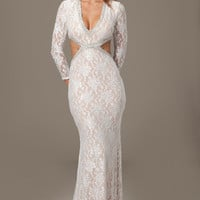 Jovani 99003 Lace Long Sleeve Almost Two Piece Prom Wedding Dress SALE