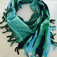 Freeshipping traditional,unisex,blue black green stripped, cotton scarves.. Can be used as a table cloth..