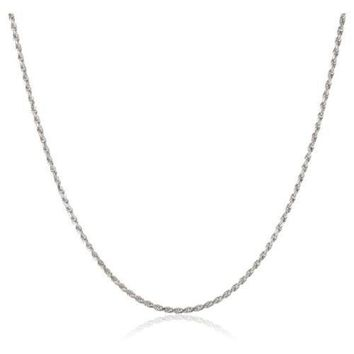 AUGUAU 1mm thick solid sterling silver 925 Italian ROPE chain necklace chocker bracelet anklet with spring ring clasp jewelry - 15, 20, 25, 30, 35, 40, 45, 50, 55, 60, 65, 70, 75, 80, 85, 90, 95, 100cm