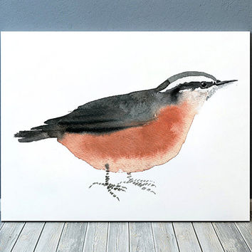 Nuthatch print Nursery art Cute bird watercolor ACW118